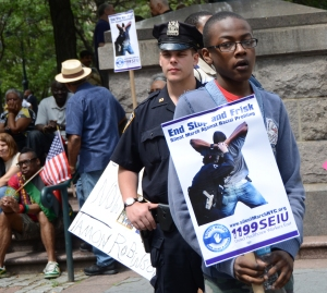 "The NAACP last summer held a protest against the city's ""Stock and Frisk"" policy, which city officials says is effective at ridding the streets of guns. The NAACP says the policy unfairly targets young black males."